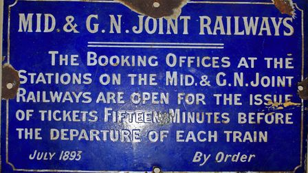 Rare 1893 Midland & Great Northern enamel sign, sold for £480. Pictures: Keys Auctioneers and Valuer