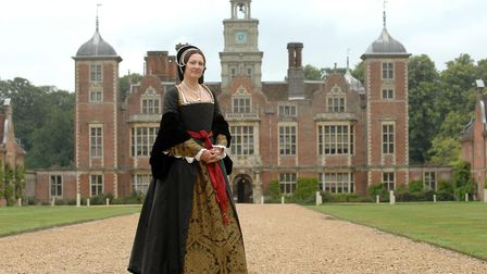 Molly Housego in Tudor attire at a pageant at Blickling Hall, where Anne and Mary Boleyn were throug