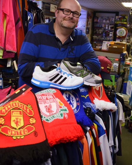 Ian Cutts at his sports shop IC Sports at Cromer. Picture: DENISE BRADLEY