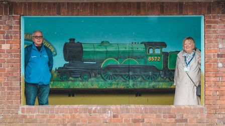 Colin Seal with his new mural and Sheringham mayor Madeleine Ashcroft. PIctures: Gareth Gabriel