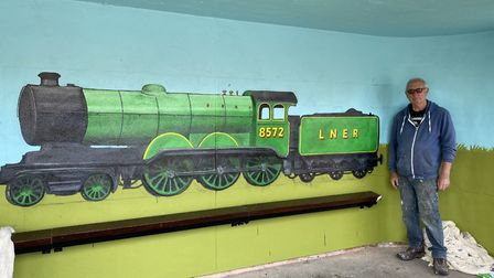 Colin Seal's new train mural in Sheringham. Pictures: Colin Seal