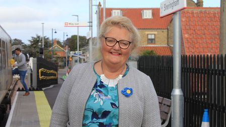 Sheringham depury mayor Liz Withington, who has been the target of a sticker campaign calling for he