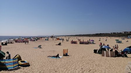 Gorleston's beach was busy but everyone kept at a very safe distance on the hottest day of the year