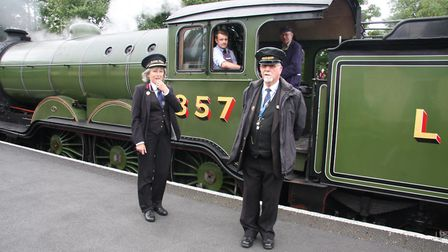 Anne Hadley, new station master at the North Norfolk Railway's Sheringham station, with volunteers.