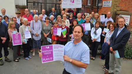 Realistic Reepham supporters and Mark Bridges at a previous protest again development in the town. P