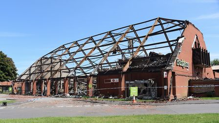 The damage after the devastating fire at Budgens of Holt. Picture: DENISE BRADLEY