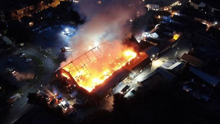 A drone photo of the fire at Budgens of Holt. Photo: O Birch