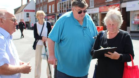 Bob White launched his petition this morning to stop road closures in North Walsham Market Place Pic