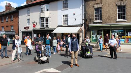 Bob White launched his petition this morning to stop road closures in North Walsham Market Place, jo