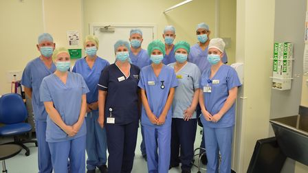 The Cromer orthopaedic team after completing a surgery list as part of the new service at Cromer Hos