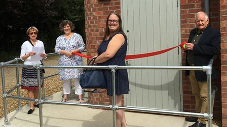 At the opening of the Cley Curloo were, from left, Cley Parish Council chairman Dr Victoria Hollida