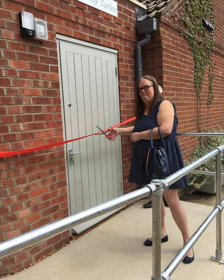 District councillor Emma Spagnola cut the ribbon to open the Cley Curloo piublic toilet. Picture: Cl