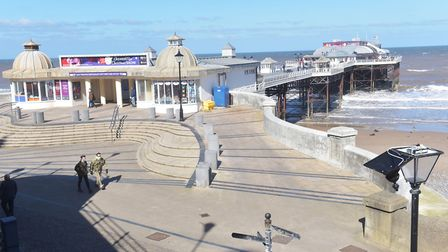 Glass windbreaks have been installed on Cromer Pier. Picture: BRITTANY WOODMAN