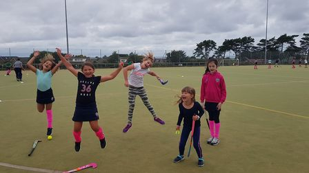 Youngsters from the North Norfolk Hockey Club, which has resumed play following the lockdown. Pictur