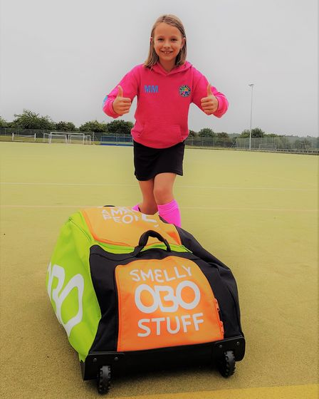 Mila Mleczkowska, 10, from the North Norfolk Hockey Club, which has resumed play following the lockd