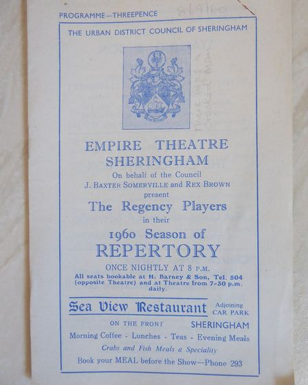 A page from a 1960 Empire Theatre Sheringham (now Sheringham Little Theatre) programme. Picture: Sup