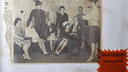 June Wade, right, and the future Mr and Mrs Gray, seated on the right, in rehersals for Beside the S