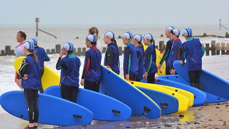 'Nippers' from the Mundesley Surf Lifesaving Club, training before Covid-19 restrictions meant the c
