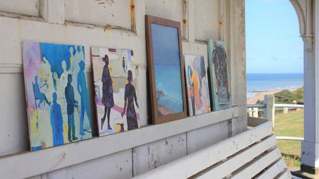 Paintings on show at a North Lodge Park clifftop shelter, where members of Cromer Artspace hope to e