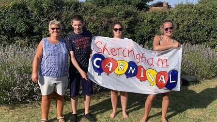 Philip Goddall, from East Runton, with mum Margaret, left, niece Emily and sister Ruth. Philip was n