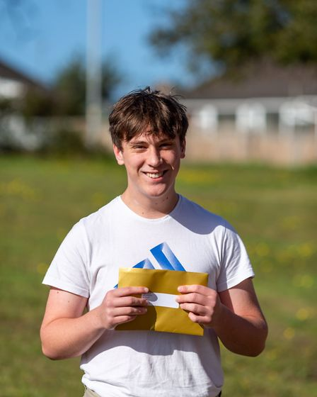 Josef Dewick was among the GCSE students at Cromer Academy picking up his results. Picture: Sophie C