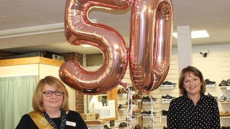 Linda Sewell is celebrating 50-years of employment at Bakers and Larners of Holt. Picture: Bakers an