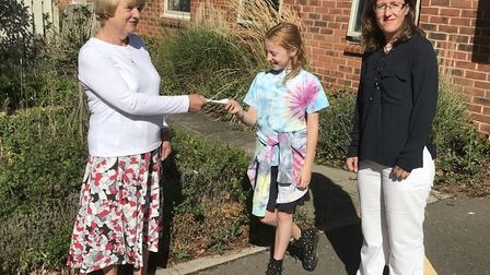 Layla Kretchetov, 10, pictured with her mother Halina, right, and Carolyn Sexton, Friends of Kelling