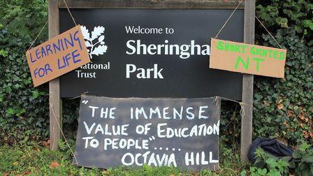 Signs protesting about National Trust cuts outside Sheringham Park.Photo: KAREN BETHELL