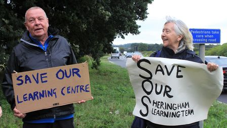 National Trust learning volunteers protesting about cuts to Sheringham Park's education provision.Ph