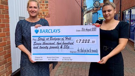 Budgens of Holt employees Rachel Clarke and Sophie Cousins pose with a cheque for more than £7,000 r