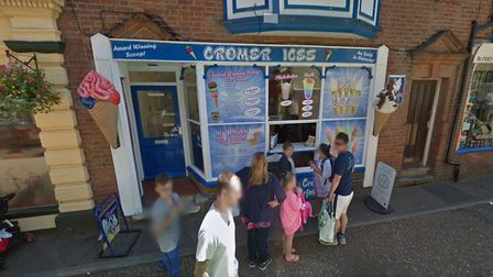 Three windows were smashed at Cromer Ices by someone throwing stones. Picture: Google StreetView