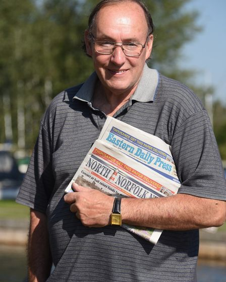 Stephen Easter, 67, of Hickling, an old-school newspaper roundsman, running a team of people deliver