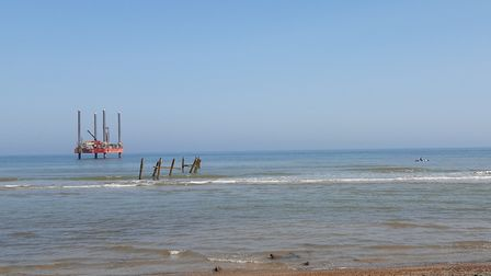 The Haven Seariser 2, owned by Ipswich-based Red7 Marine, off Happisburgh, where geotechnical engine
