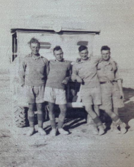 Lionel Rogers, left, and others in the army in north Africa during the Second World War. Picture: Su