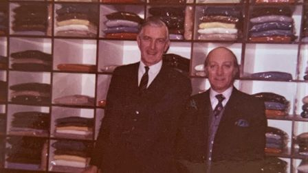 Lionel Rogers, right, became the chief hosiery buyer at Gieves & Hawkes. Picture: Supplied by Lione