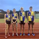 Young runners from the North Norfolk Harriers took part in an event at UEA Sportspark. Pictured are,