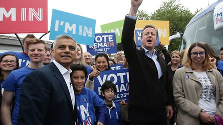Prime Minister David Cameron and Mayor of London Sadiq Khan