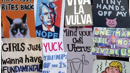 People protest at the Women's March on Washington, Los Angeles, London, Amsterdam, New York, Sydney