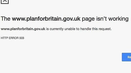 Error message as government's Brexit plan crashes after launch.