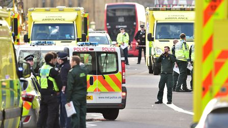 Emergency personnel on Westminster Bridge, close to the Palace of Westminster.