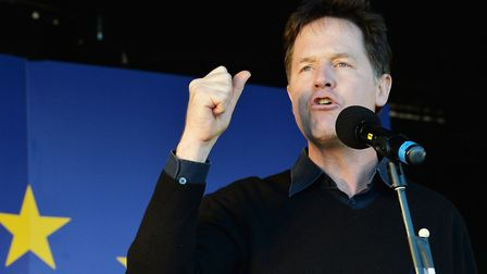 Nick Clegg addresses the crowds. John Stillwell/PA Wire