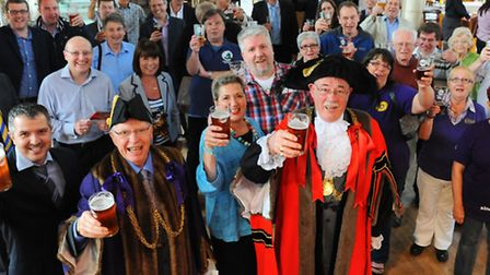 The Lord Mayor of Norwich, Ralph Gayton, and the Sheriff, John Jennings, with organisers Phil Cutter