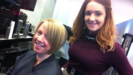 Kinki Boutique stylist Sian brightens up Penny's look with highlights.