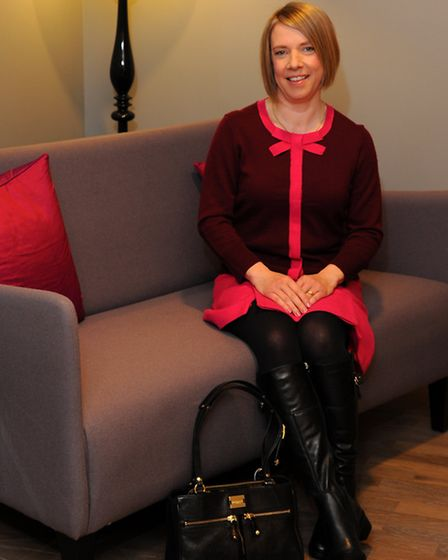 Penny Carey after her Life Matters Makeover at John Lewis. Penny wears: Pink skirt £99 and burgundy