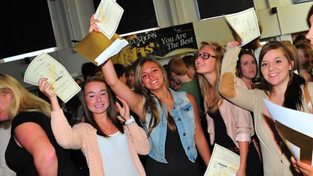 Students at Ormiston Victory Academy in Norwich celebrate their GCSE results.PHOTO BY SIMON FINLAY