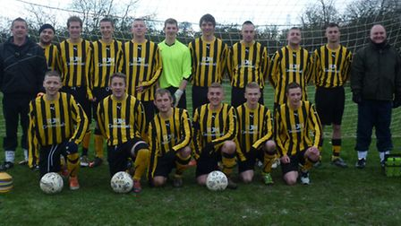 Freemasons: Norwich Sunday League Division 4b table-toppers. Back, left to right: Dieter Hume (manag