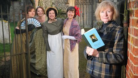 The Norfolk branch of The Jane Austen Society, pictured at Heydon. Left to right, Julia Gibbs, Kerry