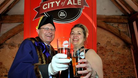City of Ale closing ceremony at Dragon Hall in 2011 with the then Sheriff of Norwich, Chris Higgins,