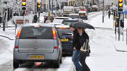 Traffic comes to a halt on Prince of Wales in Norwich. Photo: Simon Finlay.
