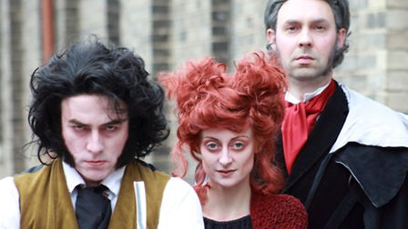 Andy Gledhill as Sweeney Todd, Stephanie Moore as Mrs Lovett and Huw Jones as The Judge